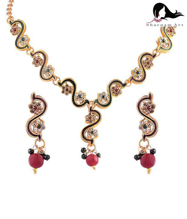 Sharnam Arts Red Drop Golden Necklace Set