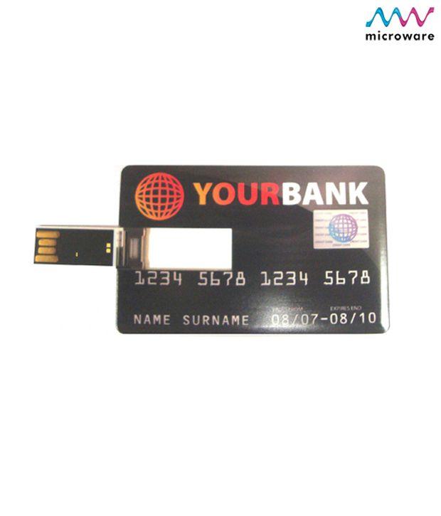 Microware Credit Card Shape Designer Pen Drive 8 GB