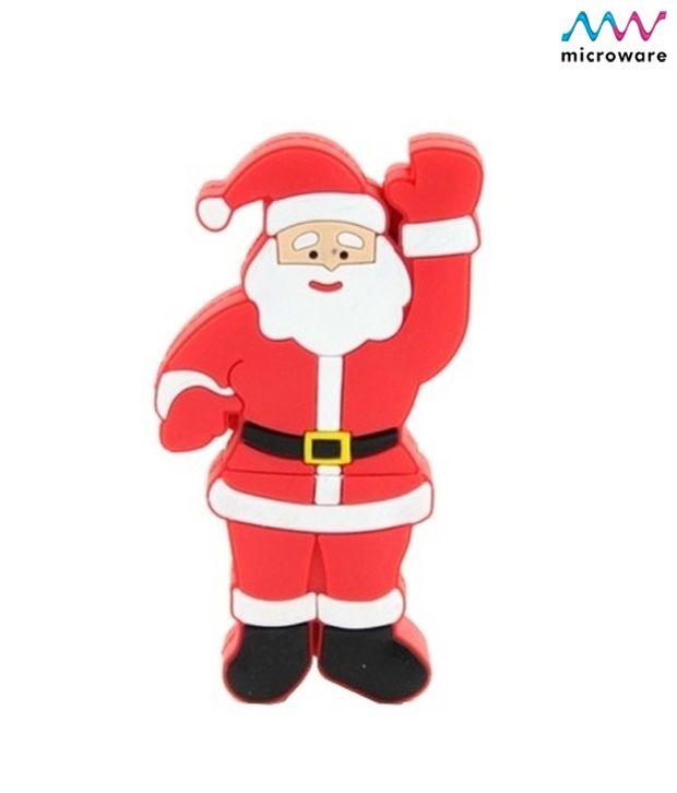 Microware Santa Claus Christmas Stockings Shape 4-GB (Red)