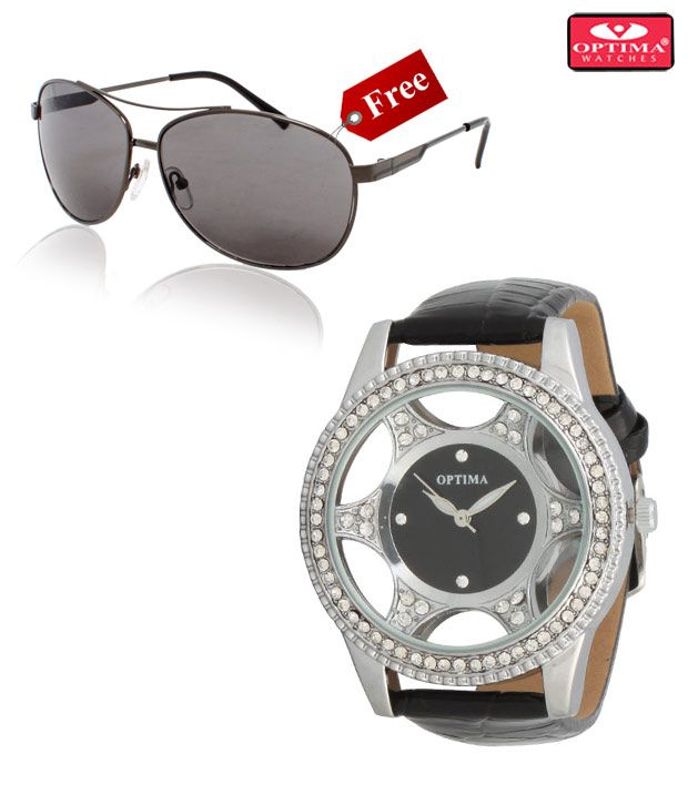 Optima Silver Black Star Watch With Free Optima Sunglasses