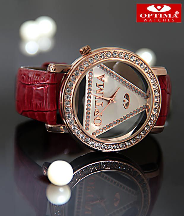 Optima Studded Red & Rose Gold Watch