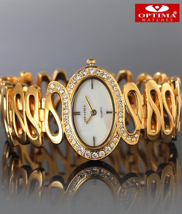 Optima Spiral Gold Bracelet Studded Watch