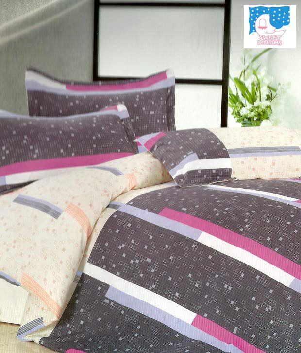 Sweet Dreams Light Purple & Peach Double Bed Sheet