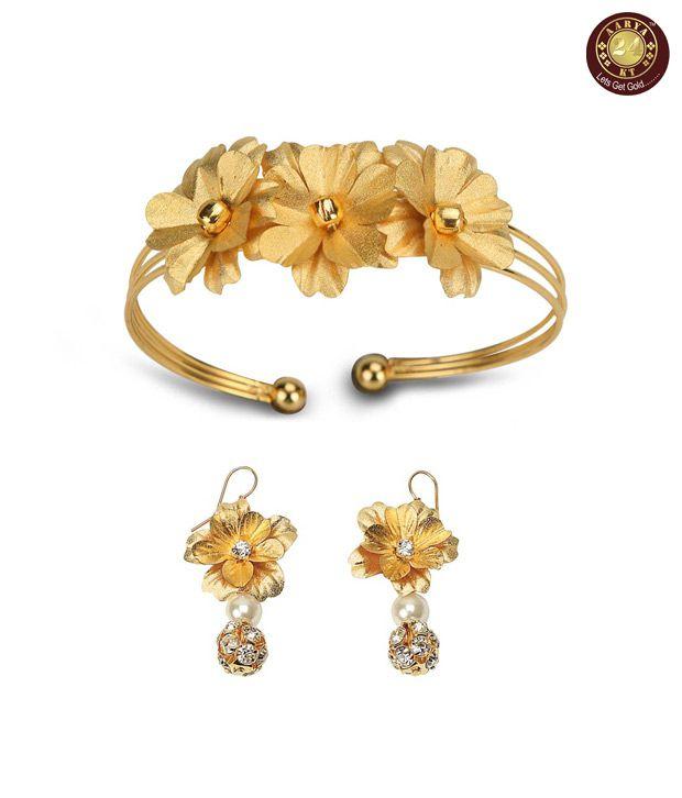 Aarya 24 kt Gold Foil Bracelet and Earrings Combo