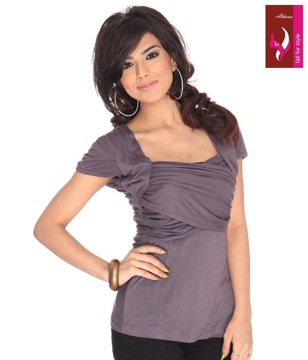 Athena Purple Poly Cotton Tops