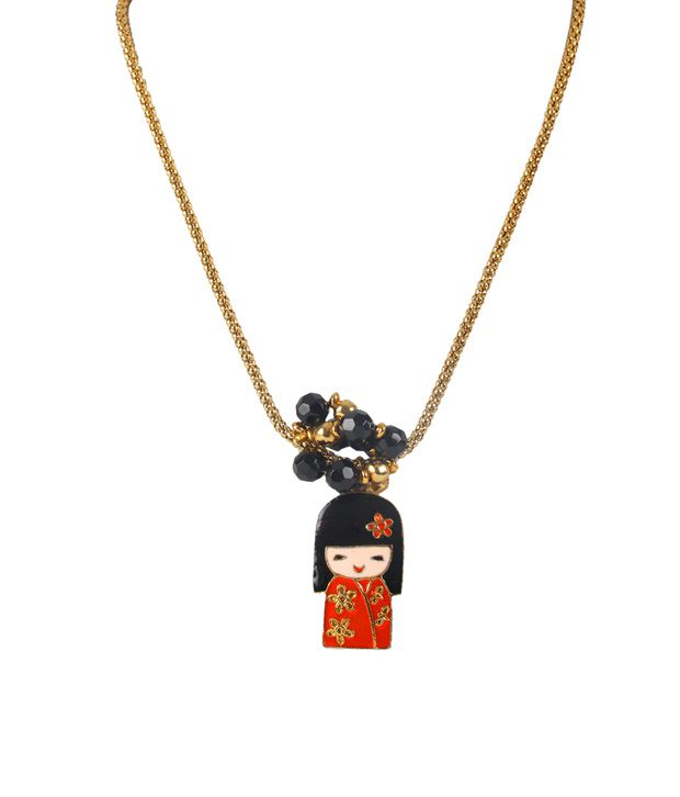 Embellish Golden Chinese Doll Necklace