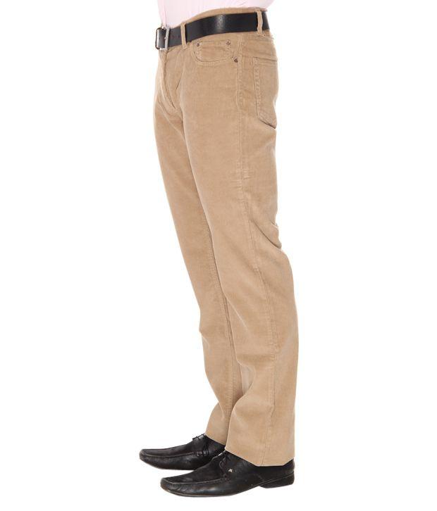 Indian Terrain Khaki Corduroy Trousers - Buy Indian Terrain Khaki ...