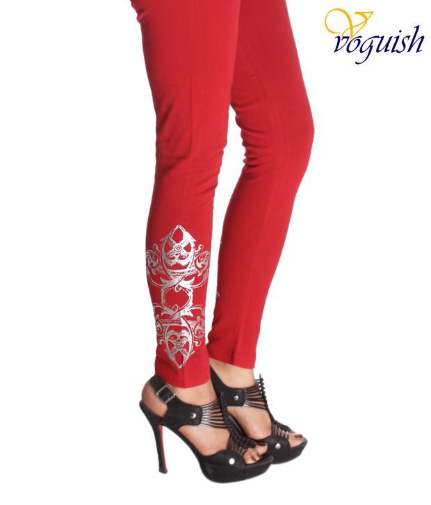 Vvoguish Red Cotton Designer Leggings