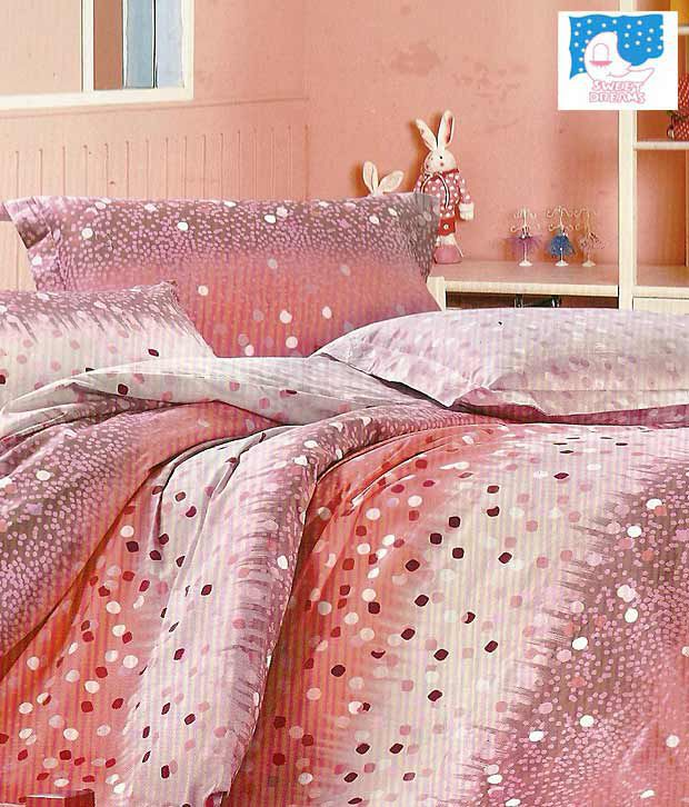 Sweet Dreams Pink & Off-White Bed Sheet