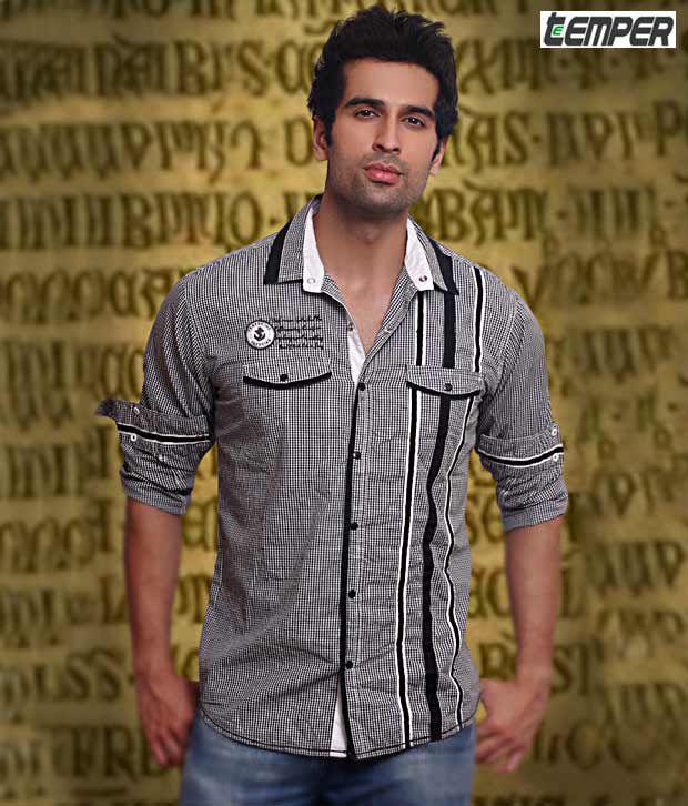 Teemper Black Checkered Shirt