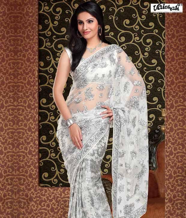 Vaishali Stylish White Silver Embroidered Saree Buy Vaishali
