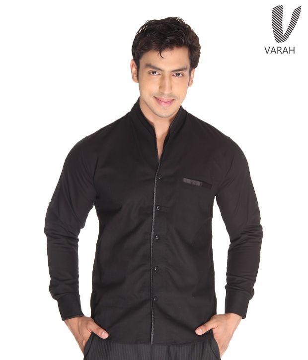 Varah Black Linen Shirt
