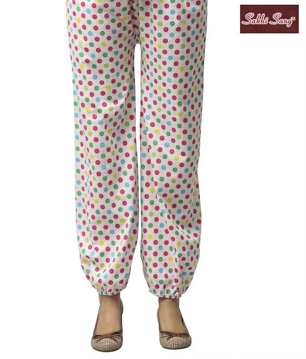 Sakhi Sang White & Multicolour Polka Dots Cotton Lycra Afghani Pants