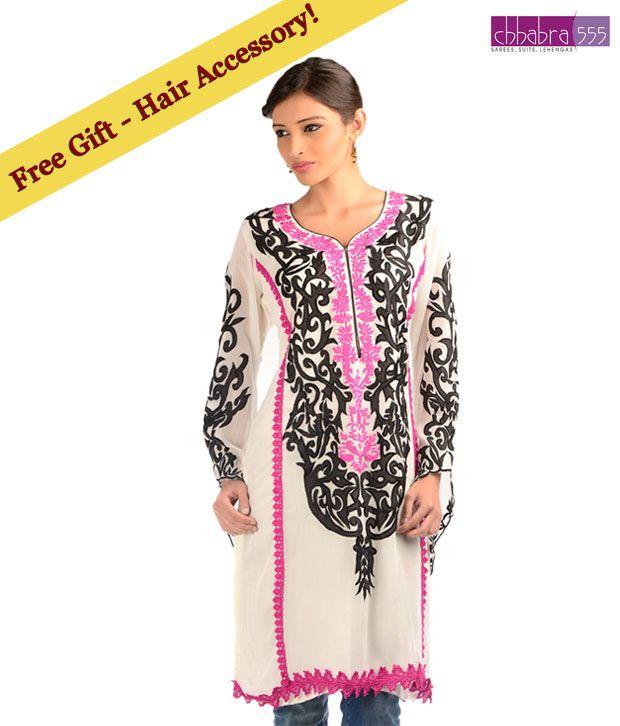 Chhabra 555 White Art Georgette Applique  Designer Kurti with free hair accessory.