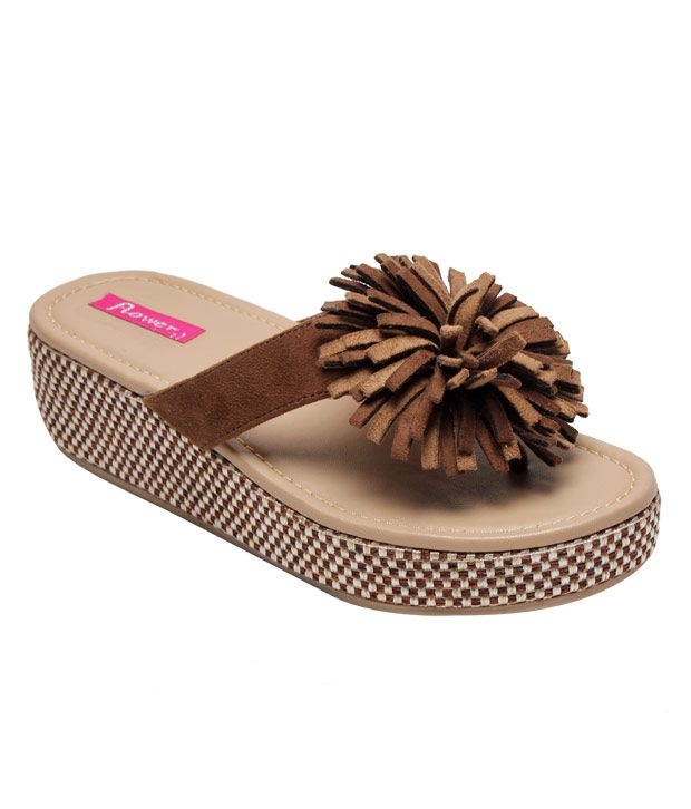 7a08296d1473 Flower Funky Brown Platform Slippers Flower Funky Brown Platform Slippers  ...