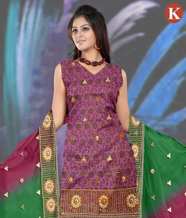 Khazana Purple Cotton Unstitched Dress Material