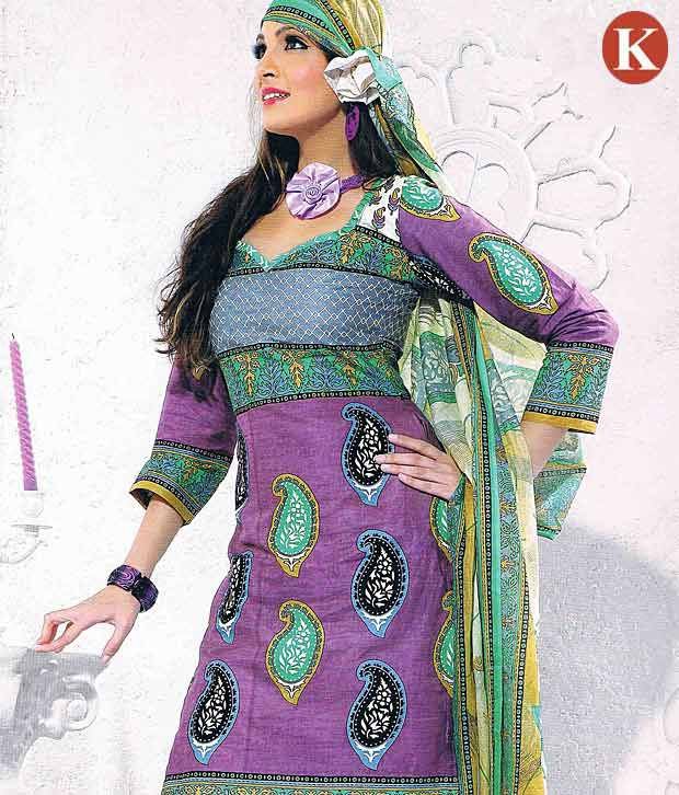 Khazana Purple Cotton Unstitched Dress Material