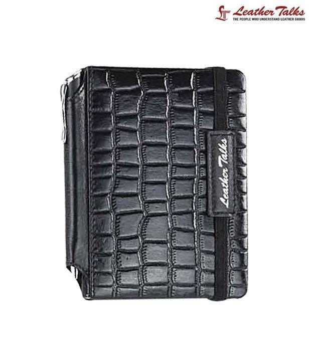 Leather Talks Black Croc Print Note Book