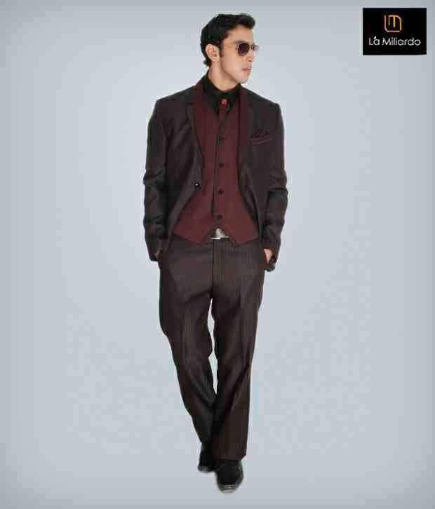 La Miliardo Brown Imported Fabric Suit