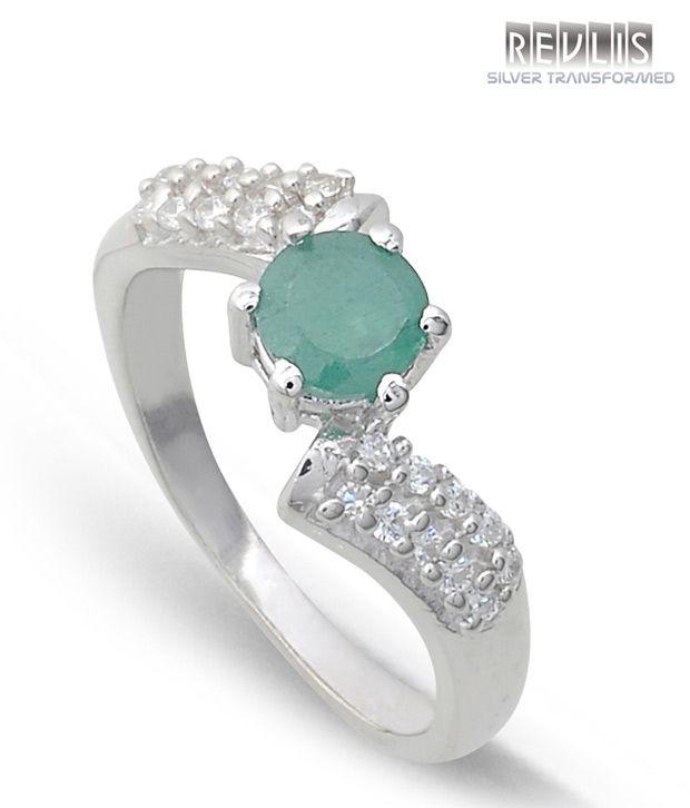 Revlis Grandeur Emrald Silver Ring