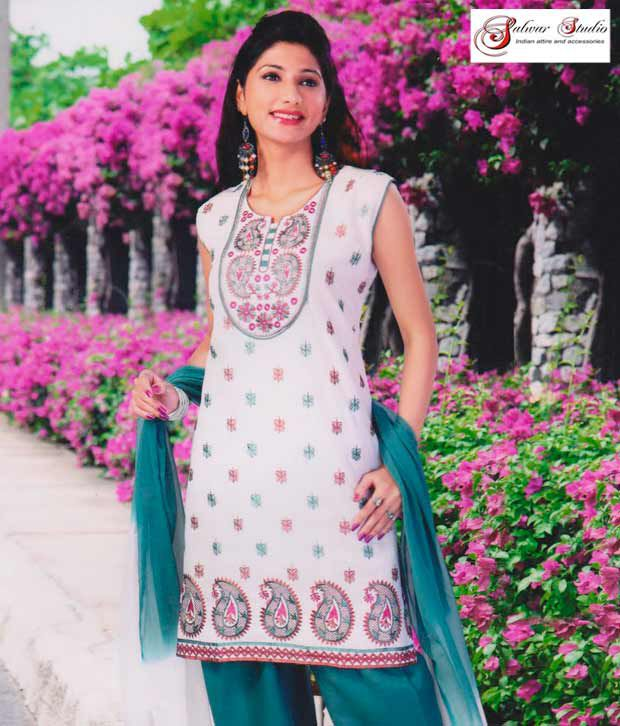 Salwar Studio Off White and Blue Printed Cotton Suit