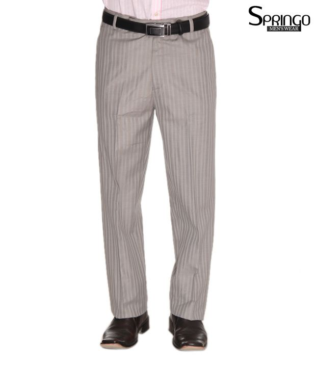 Springo Classic Grey Striped Trousers