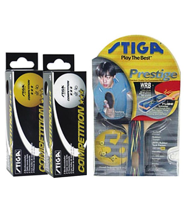 2 Stiga Prestige Table Tennis Rackets + 1 Box of Stiga Competition Table Tennis Balls ..