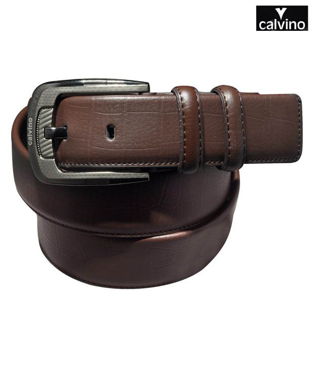 Calvino Brown Croc Print Formal Belt