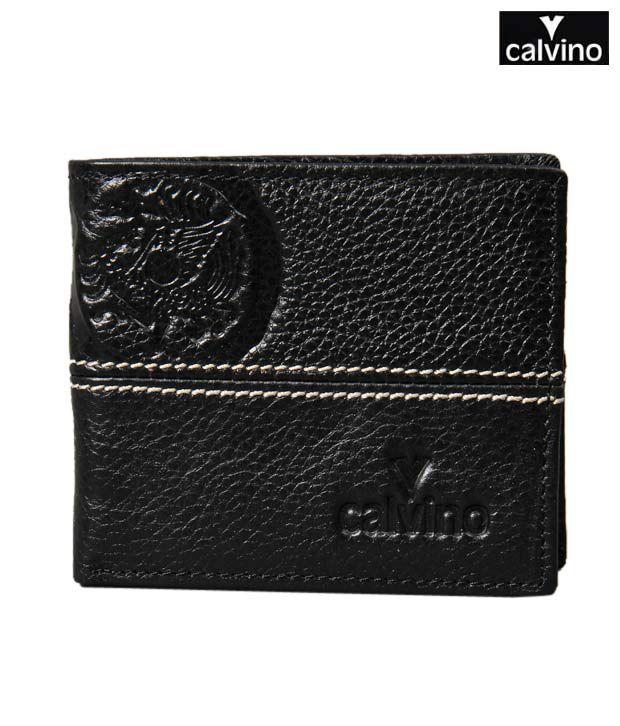 Calvino Classy Black Embossed Textured Wallet