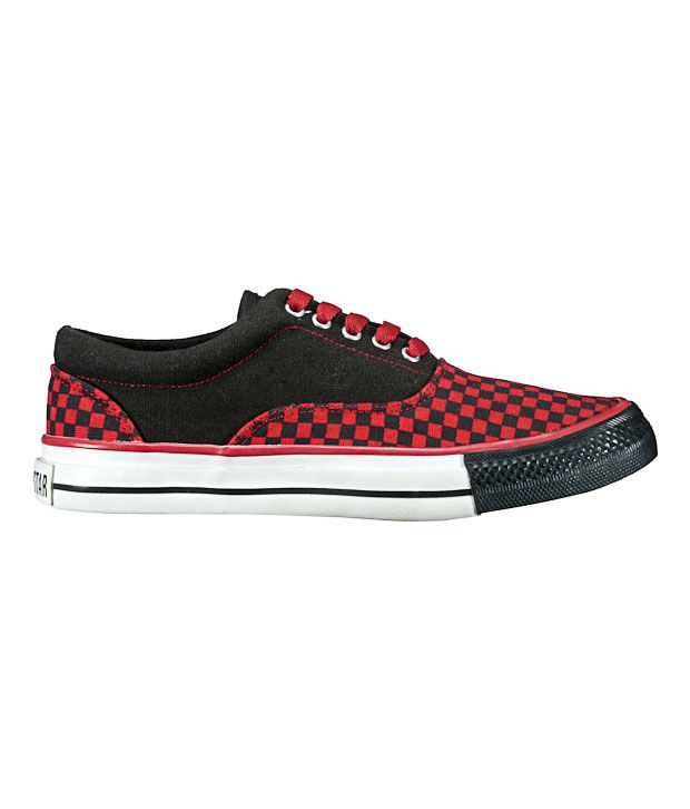 Converse Black & Red Checkered Unisex Sneakers