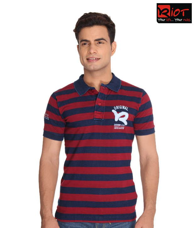 Riot Red-Blue Polo T-Shirt