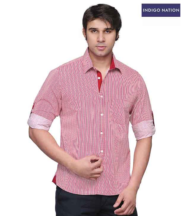 INDIGO NATION Light Pink Striped Foldover Shirt