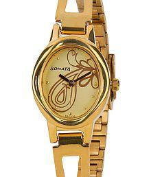 Sonata Virtuous Golden Dial Watch