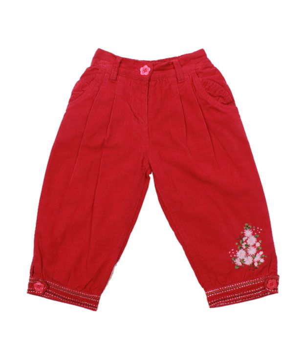 Nauti Nati Sweet Red Embroidered Cord Pant For Kids
