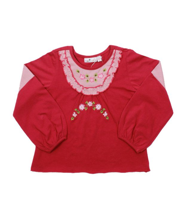Nauti Nati Red & Pink Embroidered Top For Kids