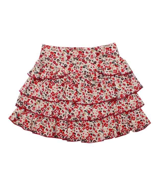 Nauti Nati Cute Floral Print Tier Skirt For Kids