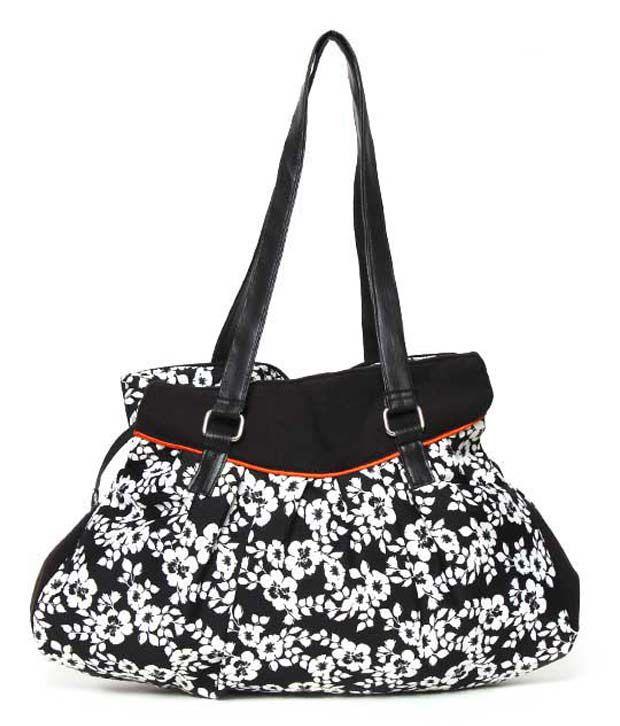Frolic Black & White Flower Print Bonnie Bag