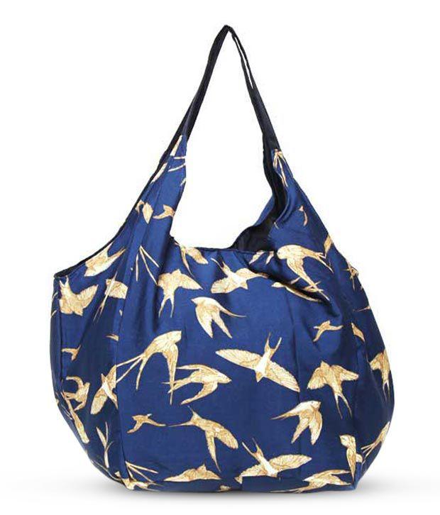 Frolic Enchanting Blue Bird Print Hobo Bag
