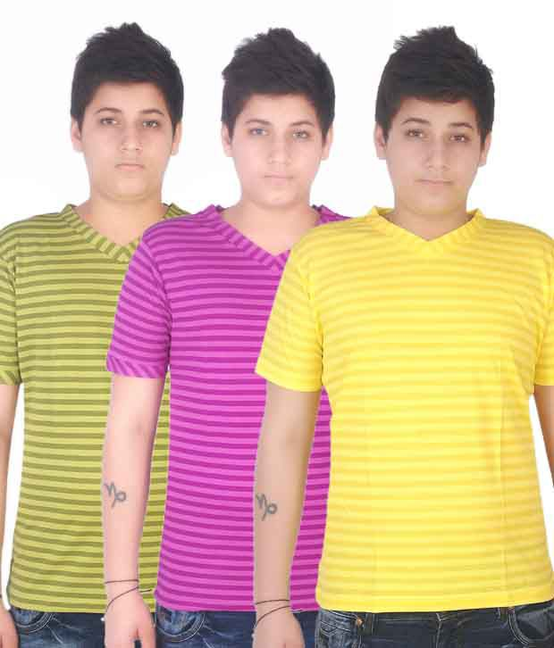 Fitz Green-Pink-Yellow Pack of 3 T-Shirts