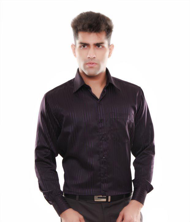 Keona Dark Purple Stripes Shirt