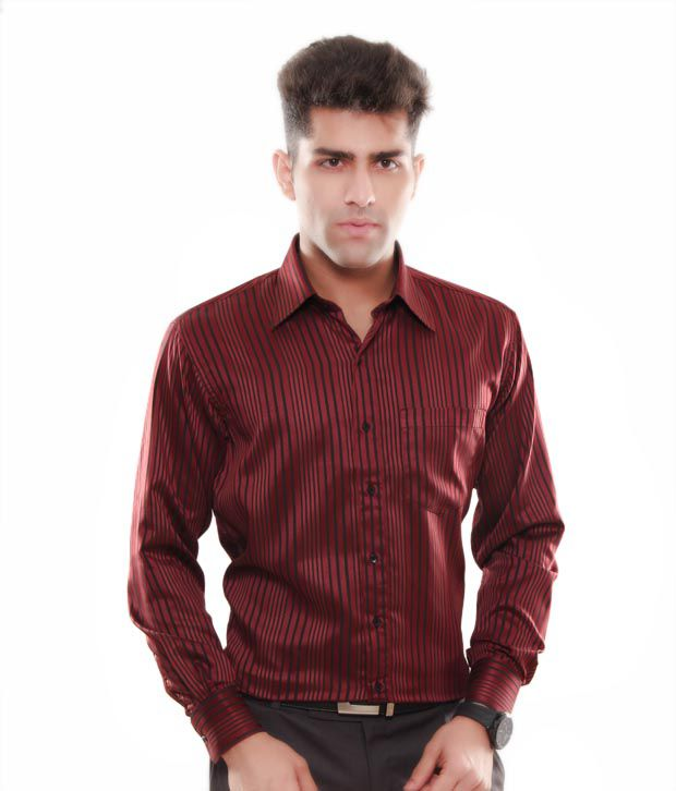 Keona Classic Burgundy Stripes Shirt