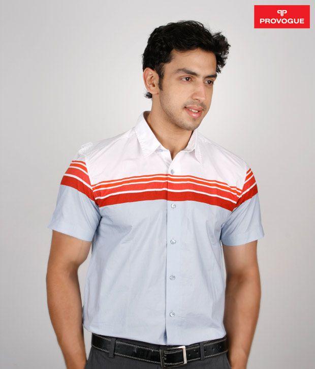 Provogue Light Blue Shirt With Red Stripes