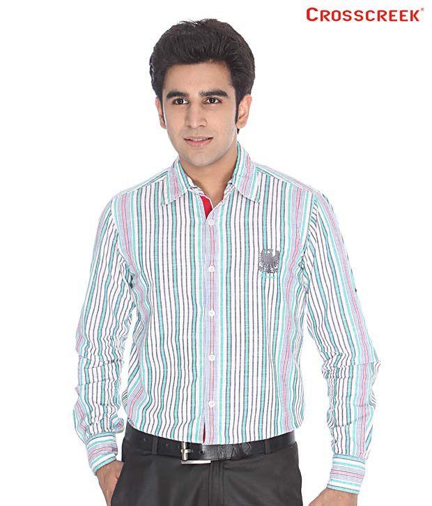 Crosscreek White & Sea Green Striped Shirt