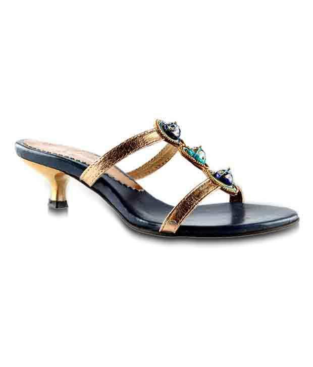 Salt 'n' Pepper Ethnic Golden Slip-on Heels