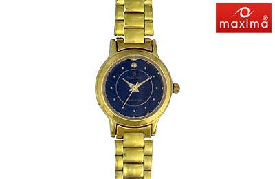 Maxima Black Round Dial Watch