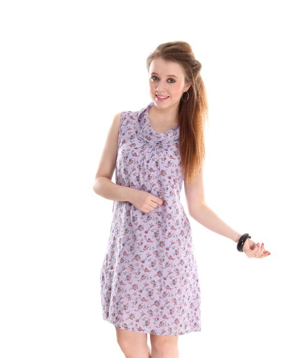 AND Purple Floral Printed A-Line Dress