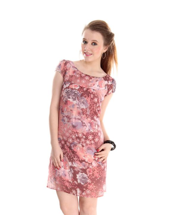 AND Maroon Floral Printed Dress