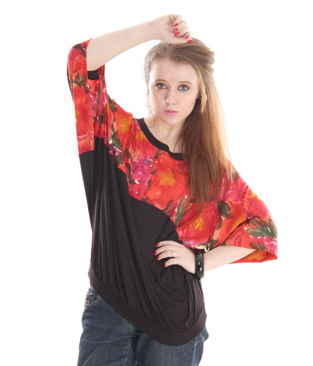 AND Red-Black Floral Printed Top