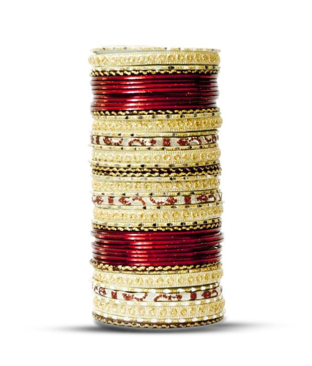 Aadya Exclusive Set Of Maroon & Golden Lac Bangles