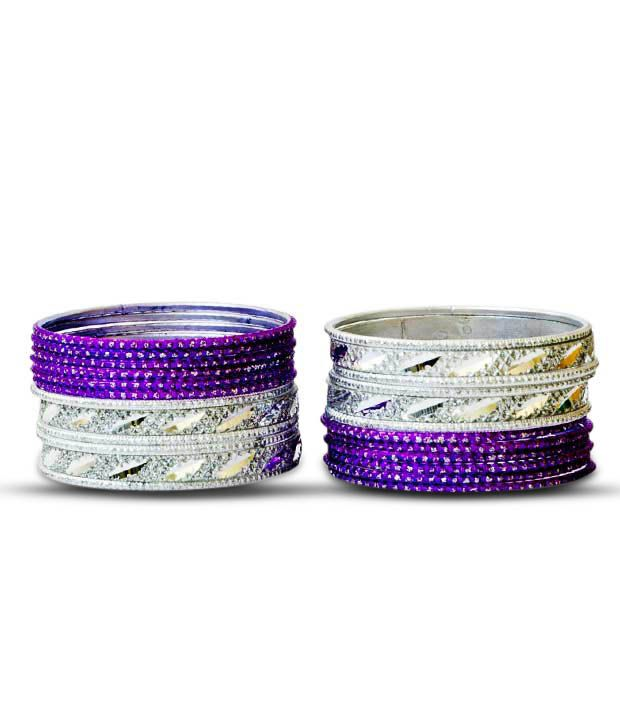 Aadya Set Of Purple & Silver Lac Bangles